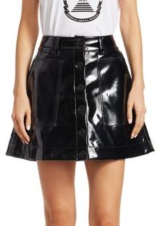Proenza Schouler Vinyl Button-Front Skirt