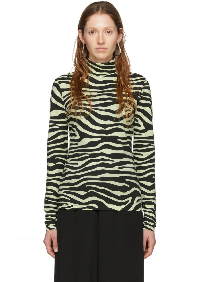 White & Green 'Proenza Schouler White Label' Zebra Print Turtleneck