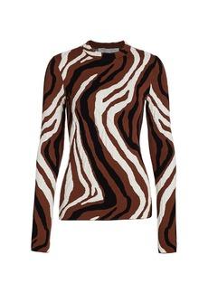 Proenza Schouler Zebra Jacquard Long-Sleeve Top