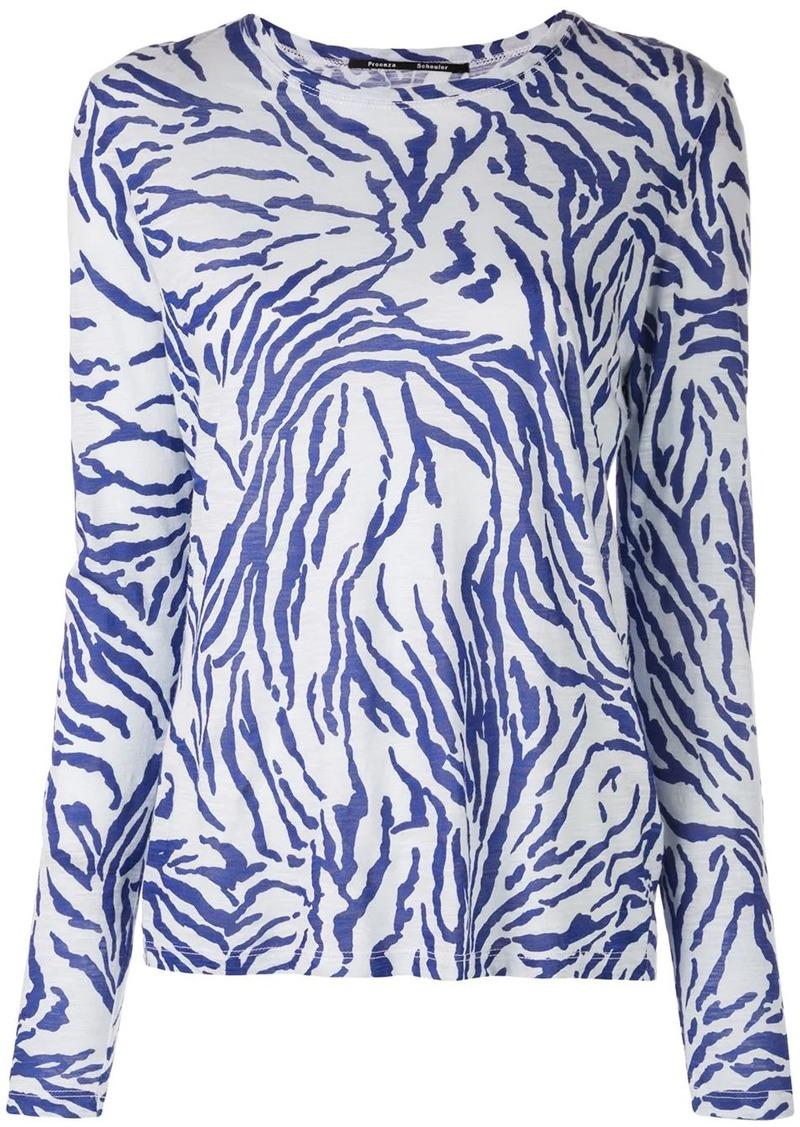 Proenza Schouler Zebra Long Sleeve T-Shirt