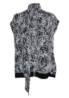 Proenza Schouler Zebra Print Crepe Scarf Top