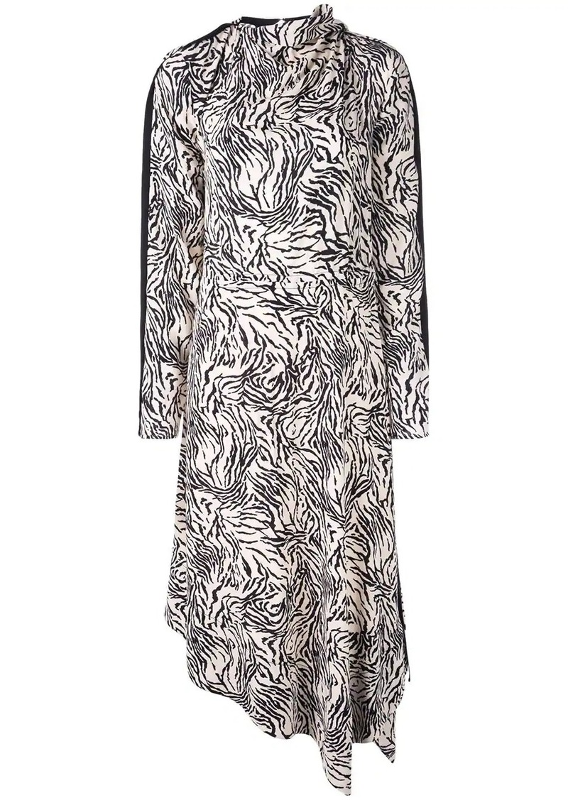 Proenza Schouler Zebra Print Long Sleeve Scarf Dress