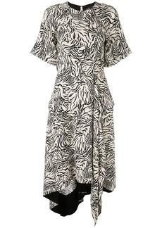 Proenza Schouler Zebra Print Short Sleeve Draped Dress