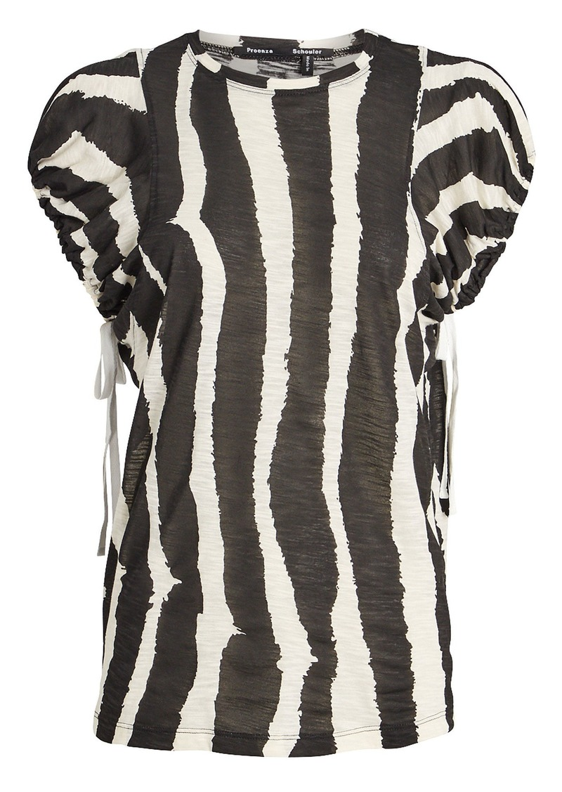 Proenza Schouler Zebra-Striped Drawstring T-Shirt