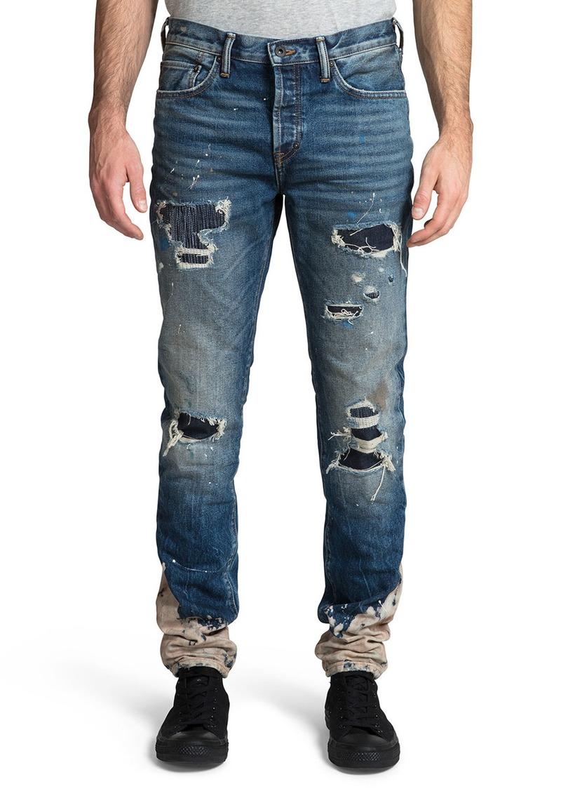 Prps Men's Le Sabre Rip/Repair Bleach-Bottom Jeans