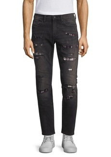 Prps Mid-Rise Skinny Tapered Distressed Flannel-Lined Jeans