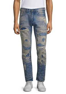 Prps Mid-Rise Slim-Fit Ripped Stiched Light Wash Patch Jeans