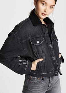 PRPS Cropped Denim Jacket with Sherpa Lining