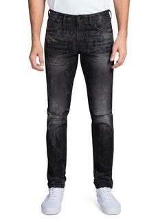 PRPS Singapore Double Rip Light Bleach Slim Fit Jeans in Black