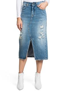 PRPS Split Front Distressed Denim Midi Skirt