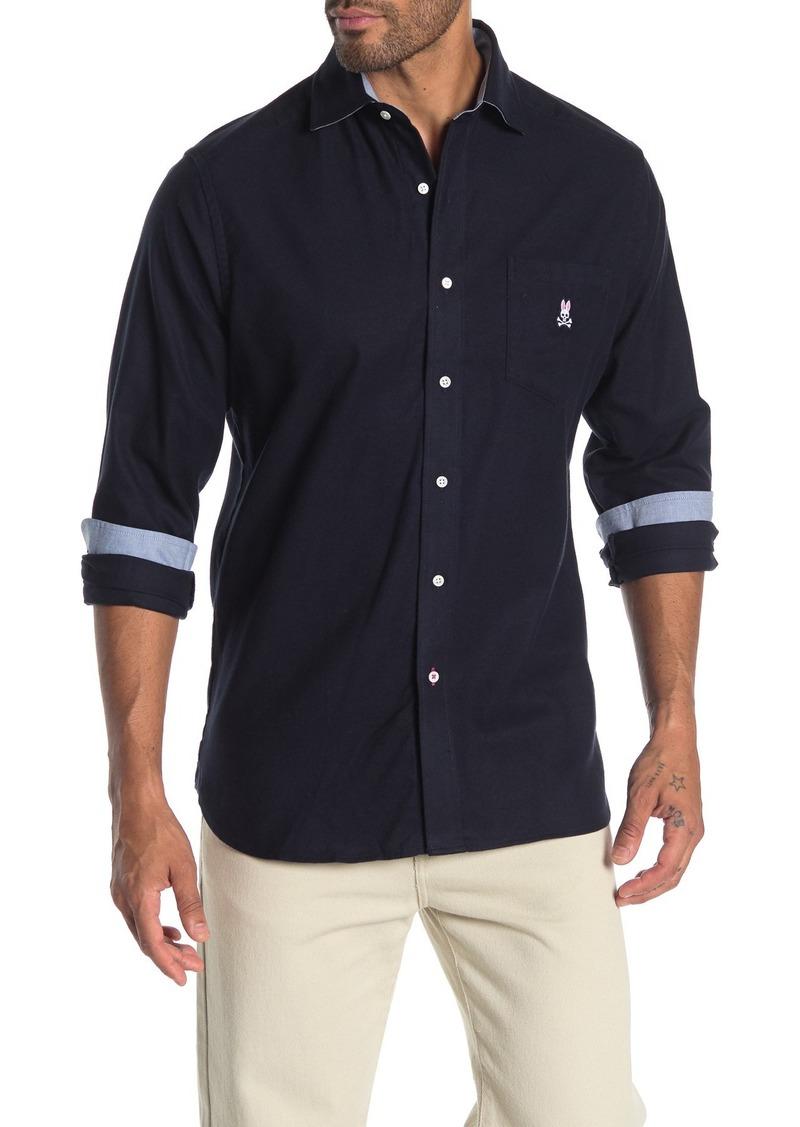 Psycho Bunny Long Sleeve Flannel Trim Fit Shirt