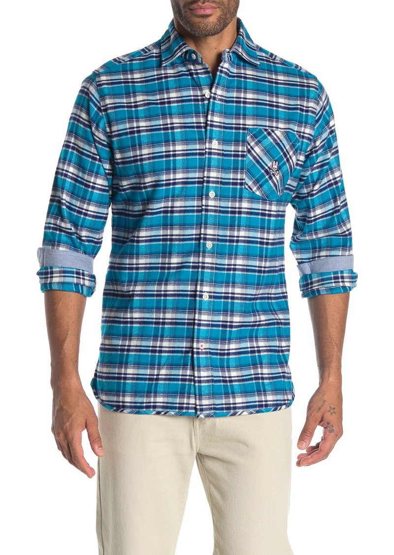 Psycho Bunny Long Sleeve Plaid Flannel Shirt
