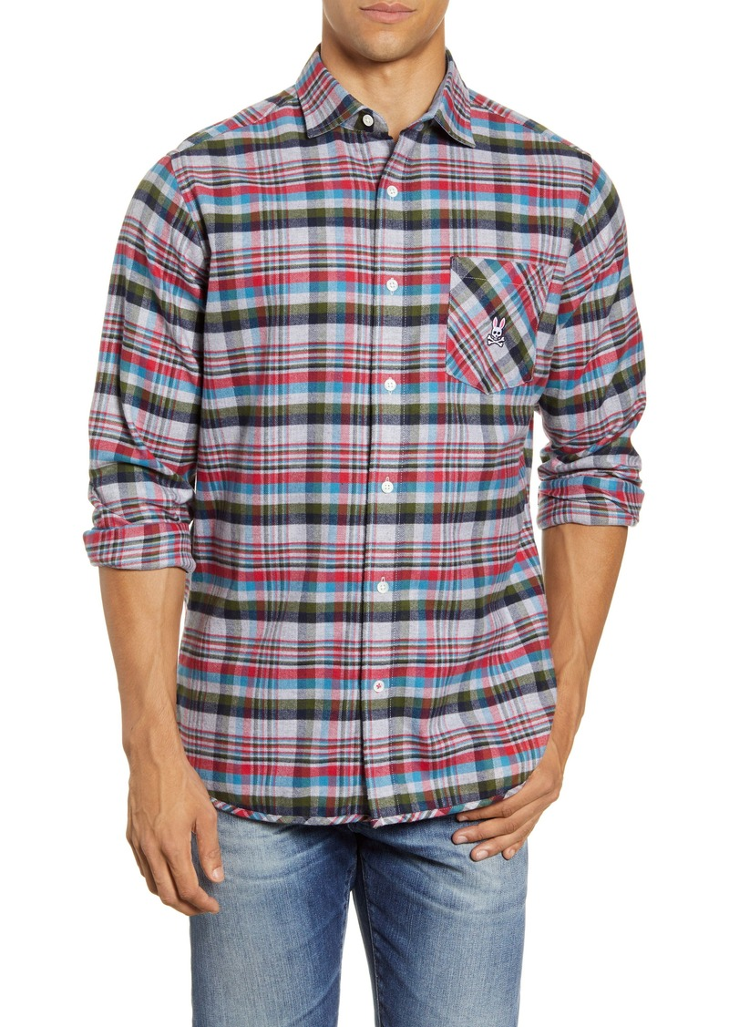 Psycho Bunny Axminster Plaid Button-Up Flannel Shirt