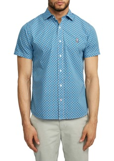 Psycho Bunny Darwell Short Sleeve Pima Cotton Button-Up Sport Shirt
