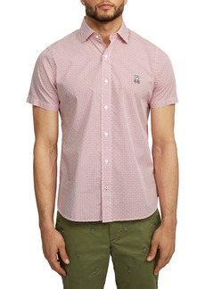 Psycho Bunny Dovestone Short Sleeve Button-Up Shirt