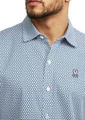 Psycho Bunny Howden Short Sleeve Knit Button-Up Shirt