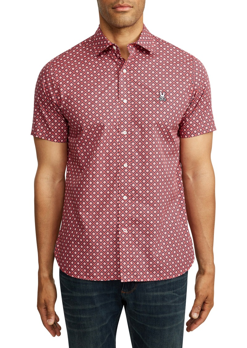 Psycho Bunny Malvern Short Sleeve Pima Cotton Button-Up Shirt