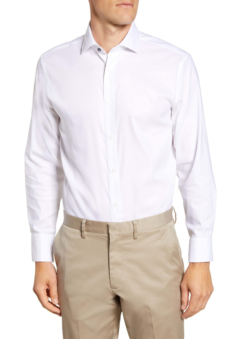 Psycho Bunny Modern Fit Solid Stretch Cotton Blend Dress Shirt
