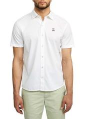 Psycho Bunny Oxford Short Sleeve Pima Cotton Button-Up Shirt
