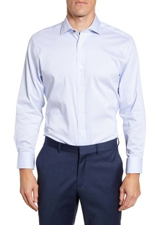 Psycho Bunny Trim Fit Stripe Stretch Cotton Blend Dress Shirt