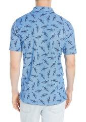 Psycho Bunny Wilton Shark Print Short Sleeve Piqué Polo