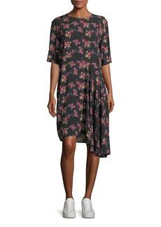 Public School Rima Crewneck Half-Sleeve Floral-Print Dress