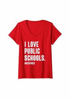 Womens  for Ed Teacher Support Public School Teacher V-Neck T-Shirt