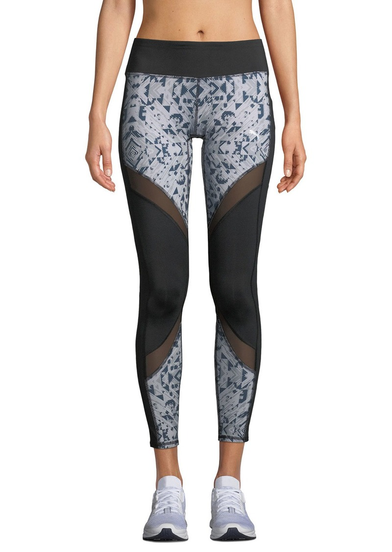 241f8df10b4d4e Puma Clash Mesh-Striped Print-Panel Leggings Black | Casual Pants