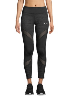 Puma Clash Mesh-Striped Print-Panel Leggings
