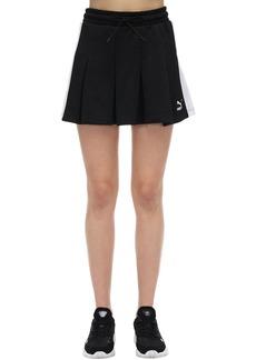 Puma Classics T7 Pleated Cotton Blend Skirt
