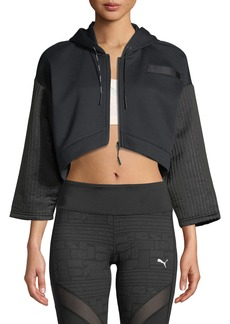 Puma Cropped Quilted FZ Hoodie Jacket
