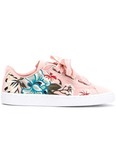 Puma embroidered floral low top sneakers