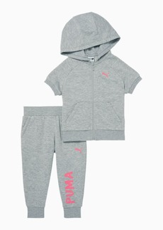 Puma French Terry Zip Up Hoodie + Capri Jogger Infant + Toddler Set