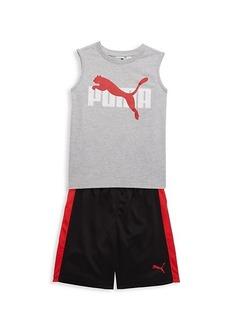 Puma Little Boy's 2-Piece Cotton-Blend Muscle Top & Mesh Shorts Set