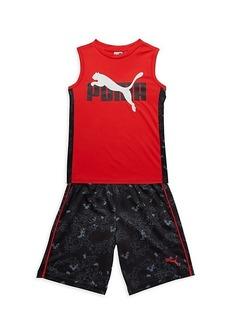 Puma Little Boy's 2-Piece Muscle T-Shirt & Shorts Set