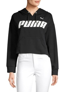 Puma Logo Cropped Cotton Blend Hoodie