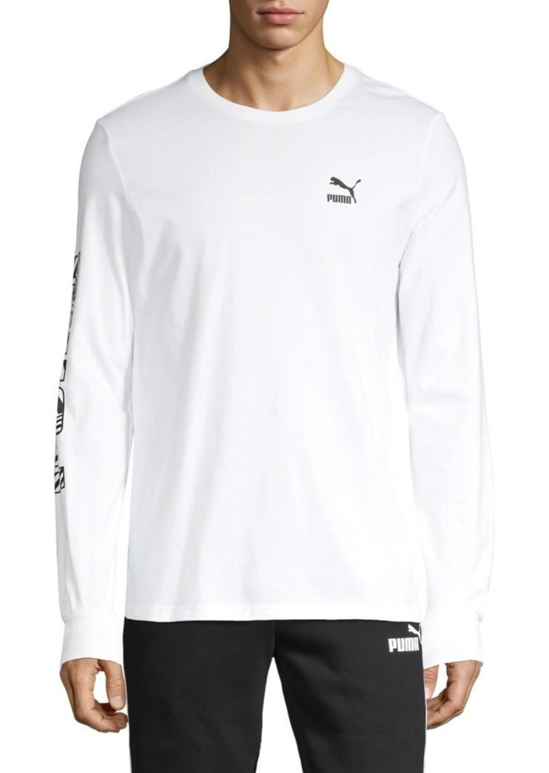 Puma Logo Long-Sleeve Cotton Tee
