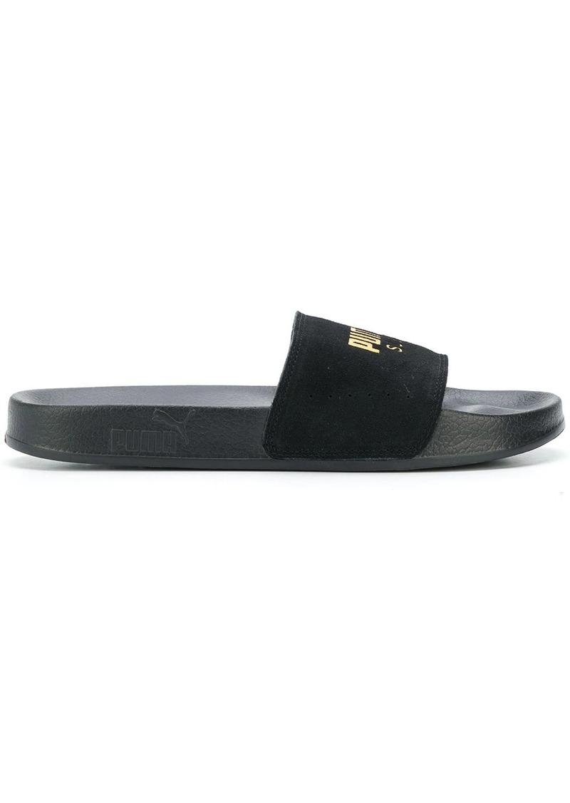 Puma logo print slider sandals