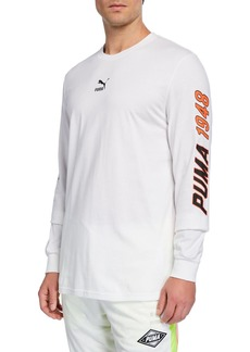 Puma Men's Logo Typographic Long-Sleeve T-Shirt
