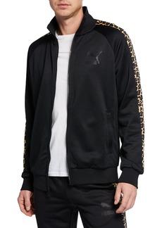 Puma Men's Wild Pack Leopard-Sleeve Zip-Front Track Jacket