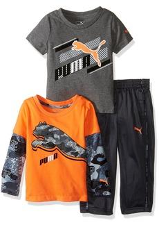 PUMA Baby Boys' 3 Piece Slider Tee and Pant Set  24M