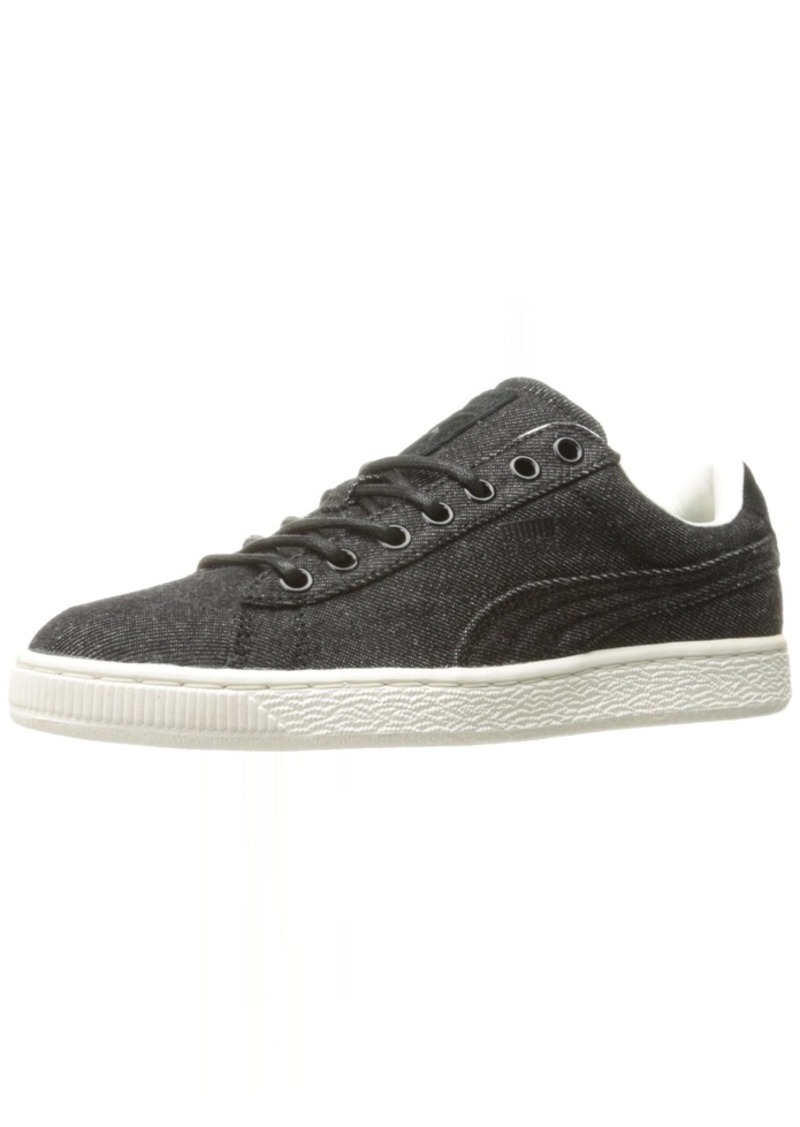 PUMA Basket Classic Denim Fashion Sneaker Black-Whisper W  M US