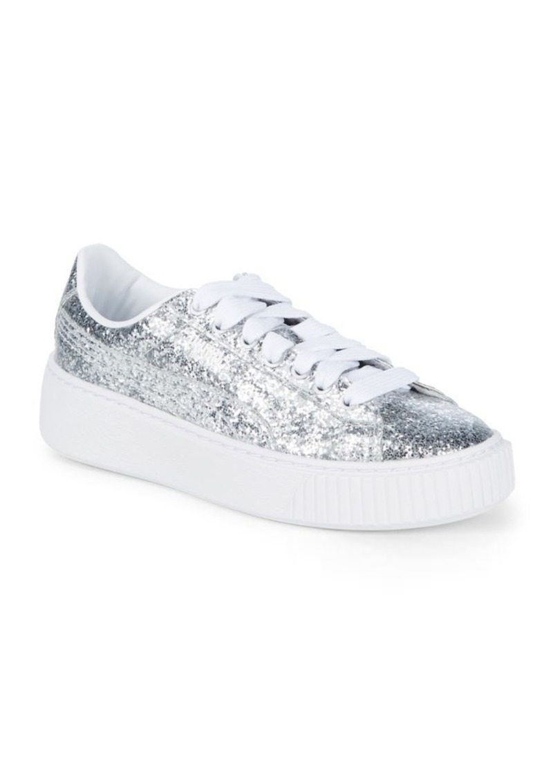 Puma PUMA Basket Glitter Platform Sneakers  ca6bbd901
