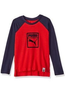 PUMA Big Boys' Raglan Long Sleeve T-Shirt Ribbon red L