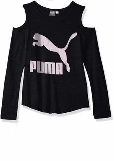 PUMA Big Girls' Cold Shoulder T-Shirt Black L