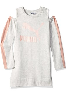 PUMA Big Girls' Fleece Cold Shoulder Dress  XL