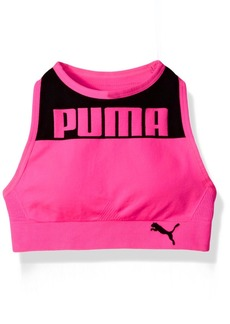 PUMA Big Girls' Seamless Logo Halter Sports Bra  Pink