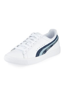 Puma Clyde Denim-Striped Leather Sneakers