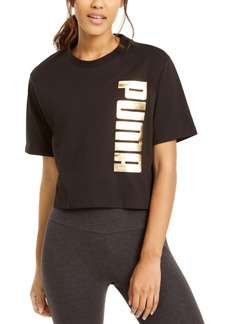 Puma Cotton Metallic Logo Cropped T-Shirt