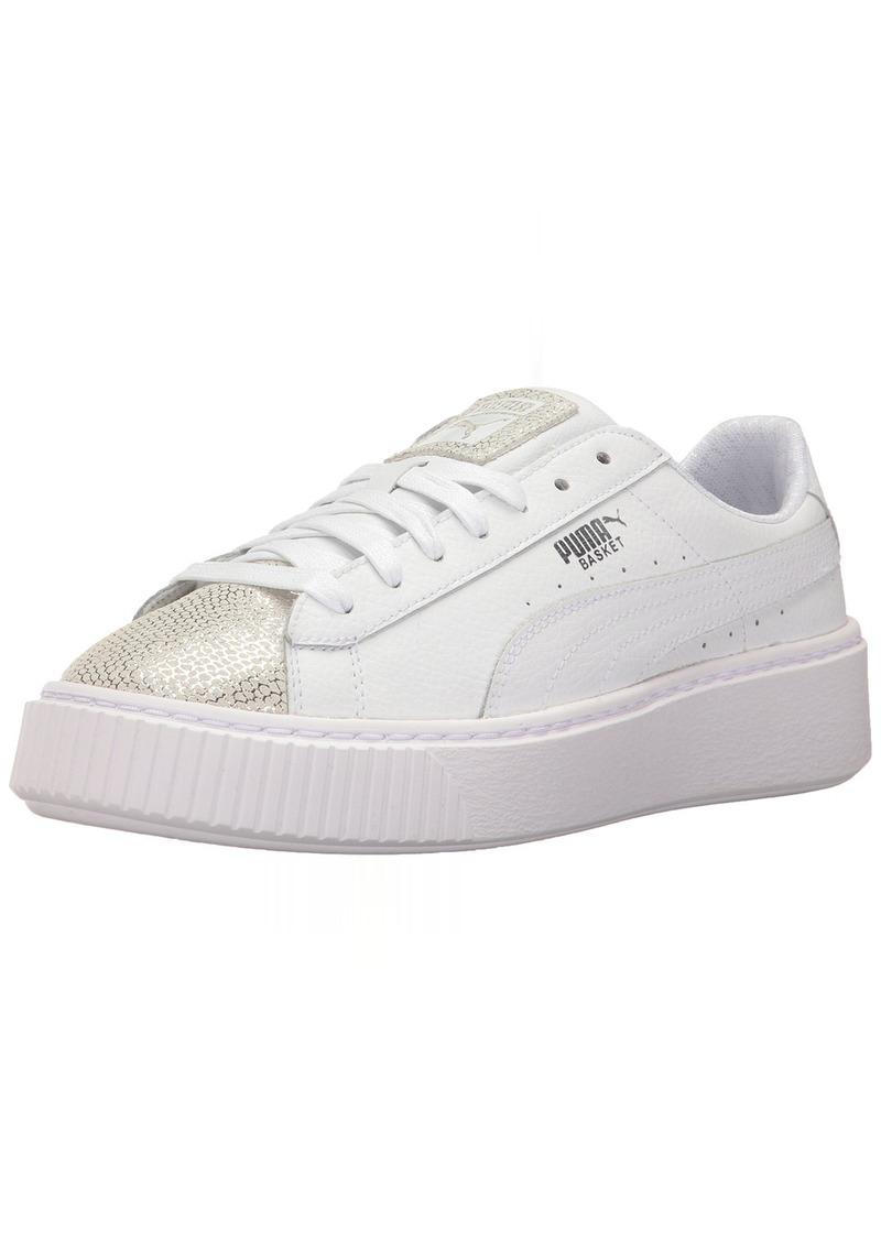 SALE! Puma PUMA Girls  Basket Platform Glitz Kids Sneaker White 5.5 ... a2aa564df